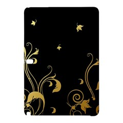 Golden Flowers And Leaves On A Black Background Samsung Galaxy Tab Pro 10.1 Hardshell Case