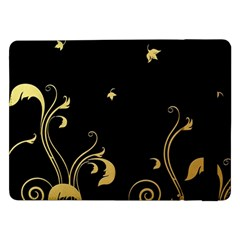 Golden Flowers And Leaves On A Black Background Samsung Galaxy Tab Pro 12 2  Flip Case