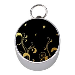 Golden Flowers And Leaves On A Black Background Mini Silver Compasses