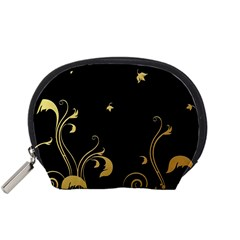 Golden Flowers And Leaves On A Black Background Accessory Pouches (small)