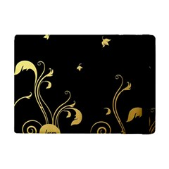 Golden Flowers And Leaves On A Black Background iPad Mini 2 Flip Cases