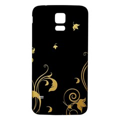 Golden Flowers And Leaves On A Black Background Samsung Galaxy S5 Back Case (White)
