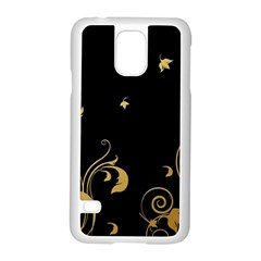 Golden Flowers And Leaves On A Black Background Samsung Galaxy S5 Case (white)