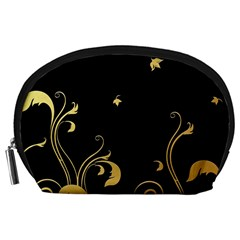 Golden Flowers And Leaves On A Black Background Accessory Pouches (large)