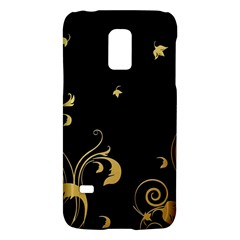 Golden Flowers And Leaves On A Black Background Galaxy S5 Mini