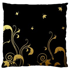 Golden Flowers And Leaves On A Black Background Large Flano Cushion Case (two Sides)
