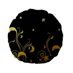 Golden Flowers And Leaves On A Black Background Standard 15  Premium Flano Round Cushions