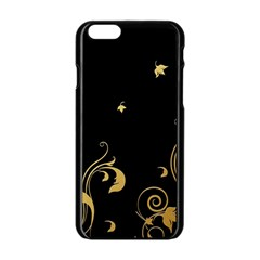 Golden Flowers And Leaves On A Black Background Apple iPhone 6/6S Black Enamel Case