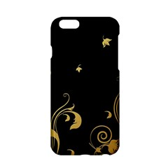 Golden Flowers And Leaves On A Black Background Apple Iphone 6/6s Hardshell Case