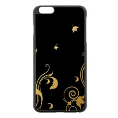 Golden Flowers And Leaves On A Black Background Apple Iphone 6 Plus/6s Plus Black Enamel Case