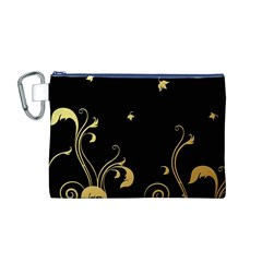 Golden Flowers And Leaves On A Black Background Canvas Cosmetic Bag (M)