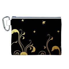 Golden Flowers And Leaves On A Black Background Canvas Cosmetic Bag (L)