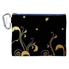 Golden Flowers And Leaves On A Black Background Canvas Cosmetic Bag (xxl)