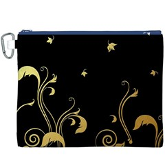 Golden Flowers And Leaves On A Black Background Canvas Cosmetic Bag (XXXL)