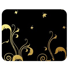 Golden Flowers And Leaves On A Black Background Double Sided Flano Blanket (medium)