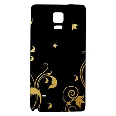 Golden Flowers And Leaves On A Black Background Galaxy Note 4 Back Case