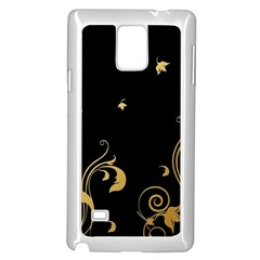Golden Flowers And Leaves On A Black Background Samsung Galaxy Note 4 Case (white)