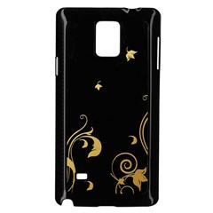 Golden Flowers And Leaves On A Black Background Samsung Galaxy Note 4 Case (black)