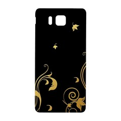 Golden Flowers And Leaves On A Black Background Samsung Galaxy Alpha Hardshell Back Case