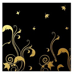 Golden Flowers And Leaves On A Black Background Large Satin Scarf (square)
