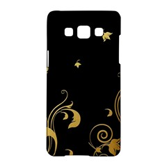 Golden Flowers And Leaves On A Black Background Samsung Galaxy A5 Hardshell Case