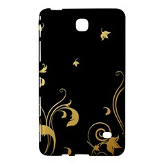 Golden Flowers And Leaves On A Black Background Samsung Galaxy Tab 4 (8 ) Hardshell Case