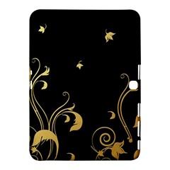 Golden Flowers And Leaves On A Black Background Samsung Galaxy Tab 4 (10 1 ) Hardshell Case