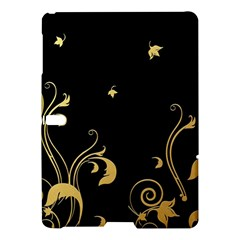 Golden Flowers And Leaves On A Black Background Samsung Galaxy Tab S (10 5 ) Hardshell Case