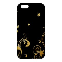 Golden Flowers And Leaves On A Black Background iPhone 6/6S TPU Case