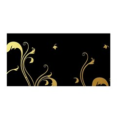 Golden Flowers And Leaves On A Black Background Satin Wrap