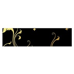 Golden Flowers And Leaves On A Black Background Satin Scarf (Oblong)