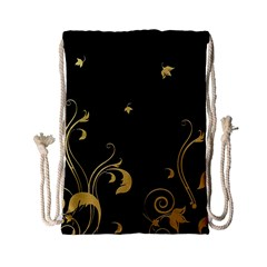 Golden Flowers And Leaves On A Black Background Drawstring Bag (small)