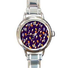 Seamless Cartoon Ice Cream And Lolly Pop Tilable Design Round Italian Charm Watch