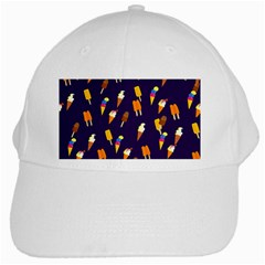Seamless Cartoon Ice Cream And Lolly Pop Tilable Design White Cap