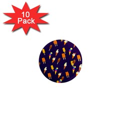 Seamless Cartoon Ice Cream And Lolly Pop Tilable Design 1  Mini Magnet (10 pack)