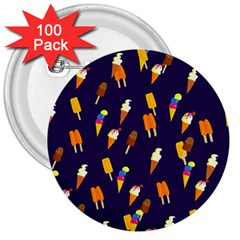 Seamless Cartoon Ice Cream And Lolly Pop Tilable Design 3  Buttons (100 pack)