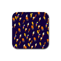 Seamless Cartoon Ice Cream And Lolly Pop Tilable Design Rubber Square Coaster (4 pack)