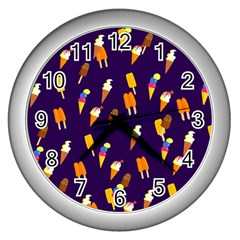 Seamless Cartoon Ice Cream And Lolly Pop Tilable Design Wall Clocks (Silver)