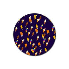 Seamless Cartoon Ice Cream And Lolly Pop Tilable Design Rubber Round Coaster (4 pack)
