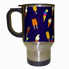 Seamless Cartoon Ice Cream And Lolly Pop Tilable Design Travel Mugs (White)