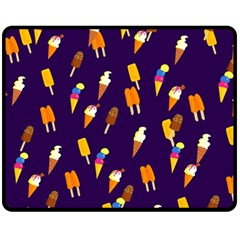 Seamless Cartoon Ice Cream And Lolly Pop Tilable Design Fleece Blanket (Medium)