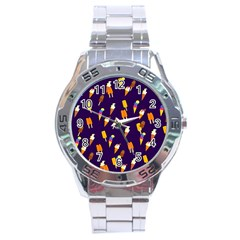 Seamless Cartoon Ice Cream And Lolly Pop Tilable Design Stainless Steel Analogue Watch