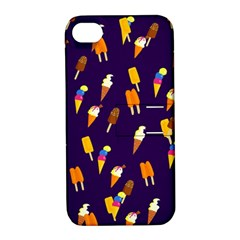 Seamless Cartoon Ice Cream And Lolly Pop Tilable Design Apple iPhone 4/4S Hardshell Case with Stand