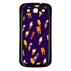 Seamless Cartoon Ice Cream And Lolly Pop Tilable Design Samsung Galaxy S3 Back Case (Black)