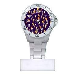 Seamless Cartoon Ice Cream And Lolly Pop Tilable Design Plastic Nurses Watch