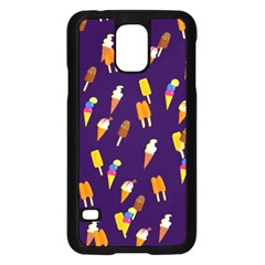 Seamless Cartoon Ice Cream And Lolly Pop Tilable Design Samsung Galaxy S5 Case (black)