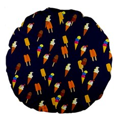 Seamless Cartoon Ice Cream And Lolly Pop Tilable Design Large 18  Premium Flano Round Cushions