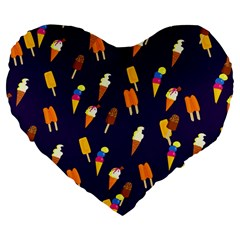 Seamless Cartoon Ice Cream And Lolly Pop Tilable Design Large 19  Premium Flano Heart Shape Cushions