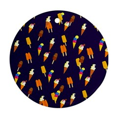 Seamless Cartoon Ice Cream And Lolly Pop Tilable Design Ornament (round)