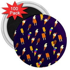 Seamless Cartoon Ice Cream And Lolly Pop Tilable Design 3  Magnets (100 pack)
